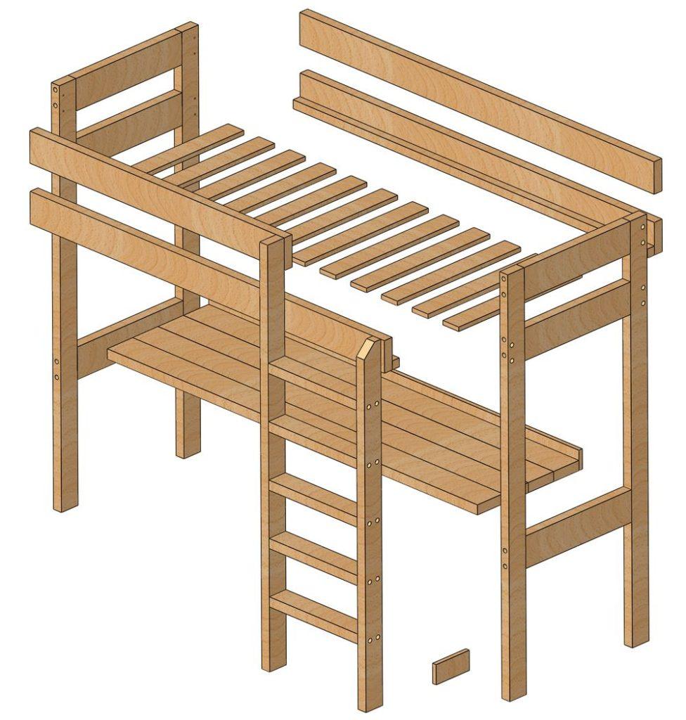 Схема сборки кровати двухъярусной со столом.