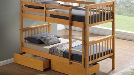 Двухъярусная кровать из массива дерева. Подробные чертежи.
