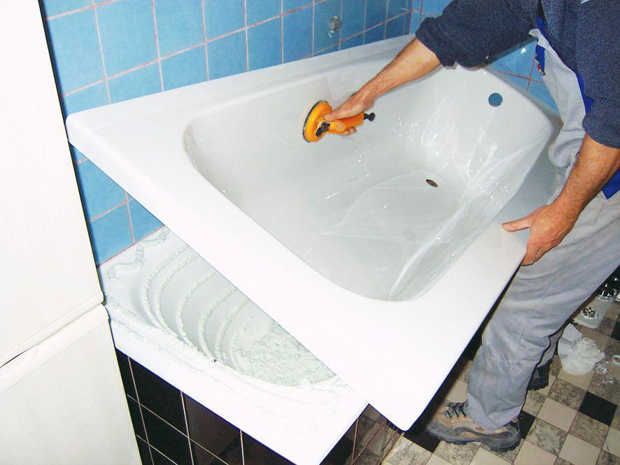 Установка вкладыша ванны.