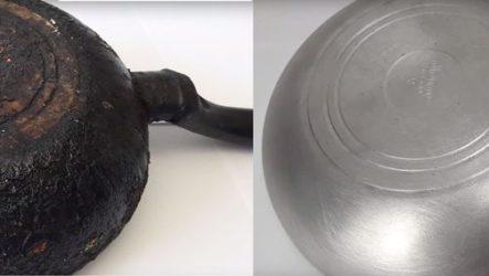 Как очистить сковороду от нагара.