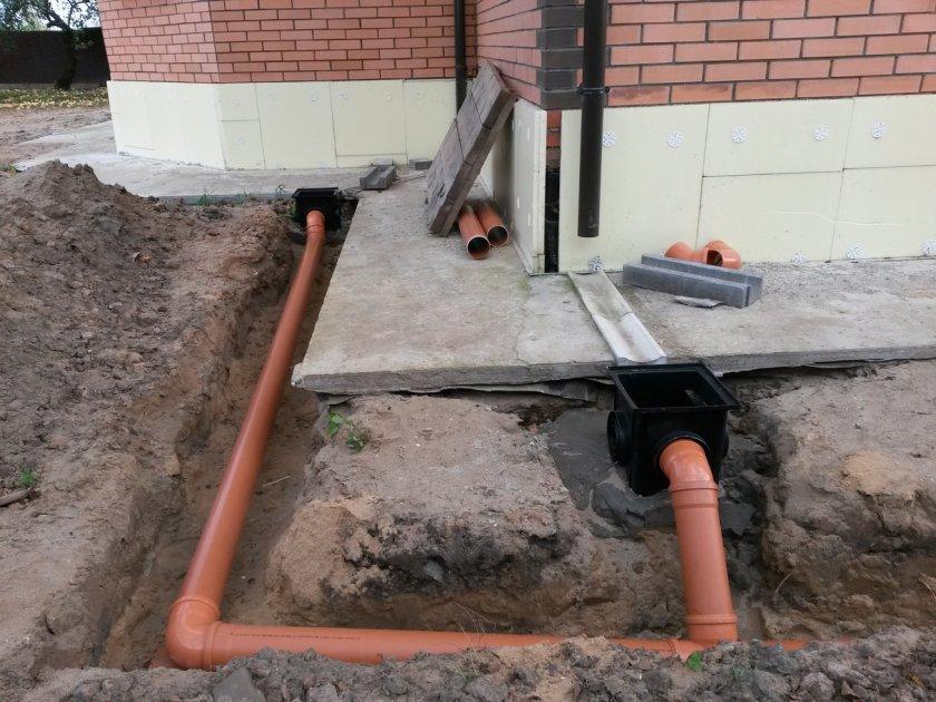 Монтаж ливневой подземной канализации.