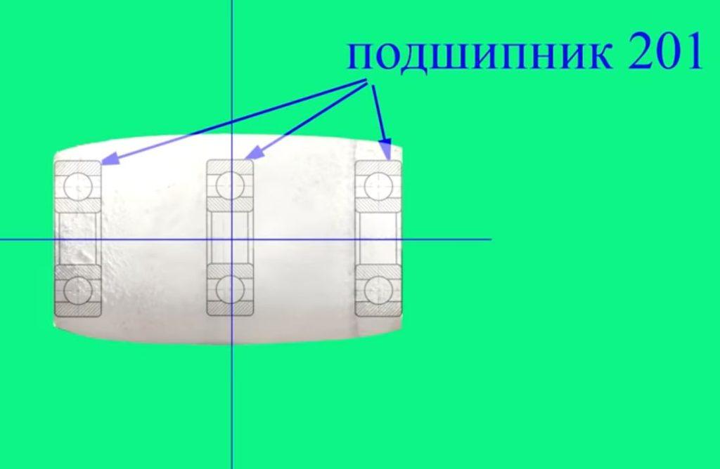 Схема ролика гриндера из пластиковых муфт.