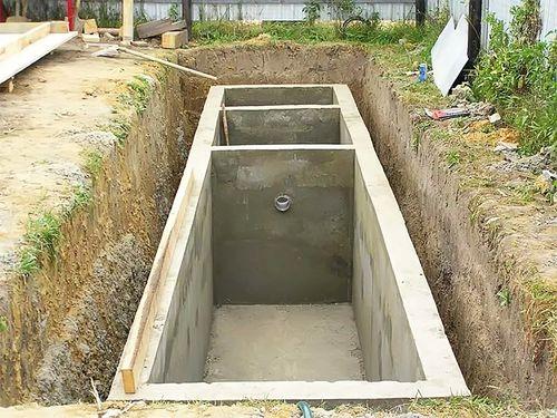 Монолитный бетонный септик.