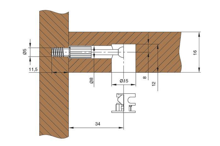 Схема установки эксцентриковой мебельной стяжки.