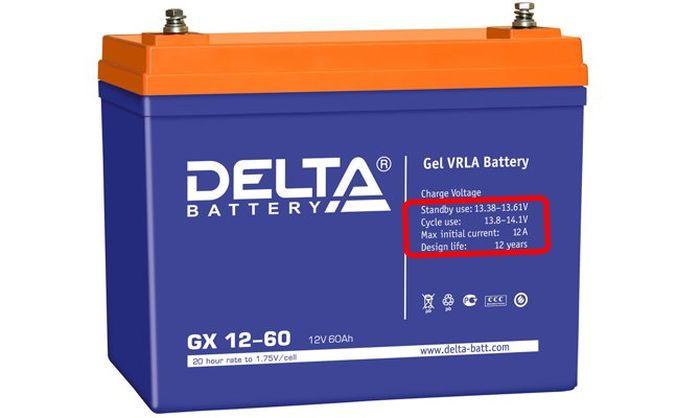 Аккумулятор с обозначением максимального напряжения заряда.