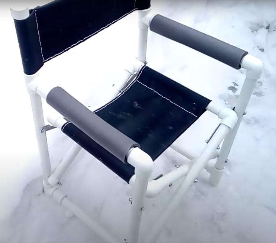 Складной самодельный стул. Вид сбоку.