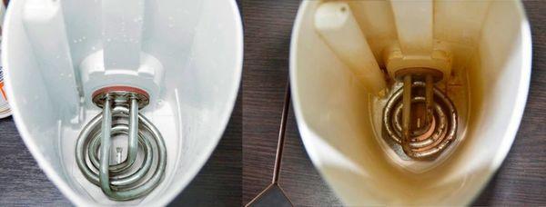Чайник до и после чистки лимонной кислотой.